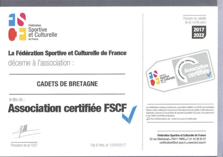 Certification FSCF Cadets de Bretagne Rennes