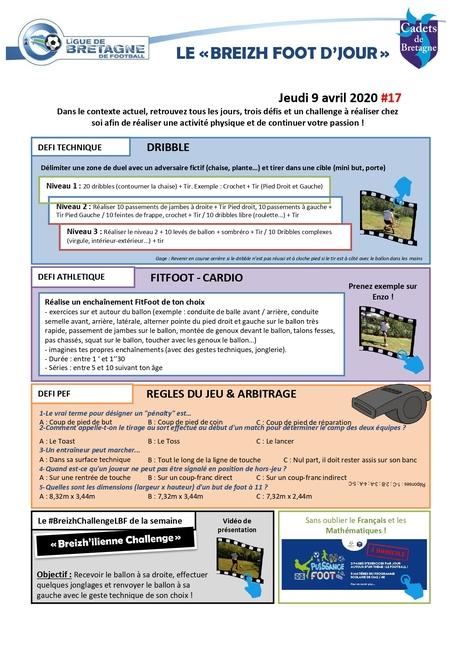Planche d'activités et defi foot du 8 avril 2020
