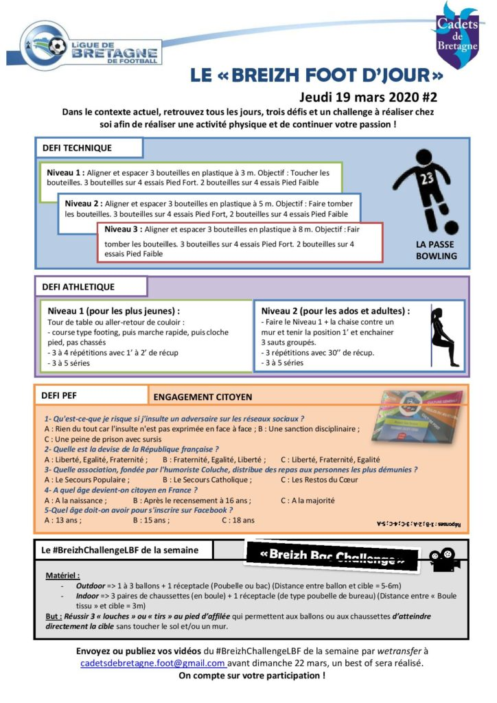 Activité et défi foot du 19 mars 2020