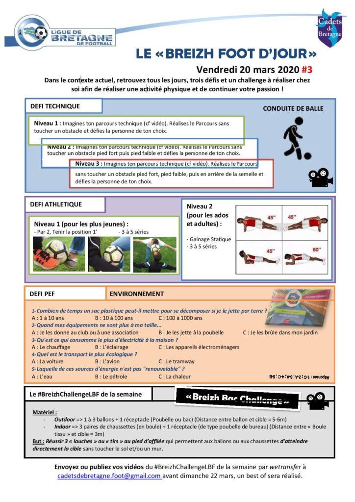 Activité et défi foot du 20 mars 2020