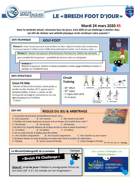 Activité et défi foot du 24 mars 2020
