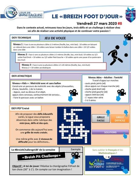 Planche d'activités et defi foot du 27 mars 2020
