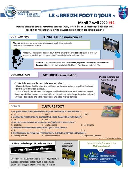 Planche d'activités et defi foot du 7 avril 2020