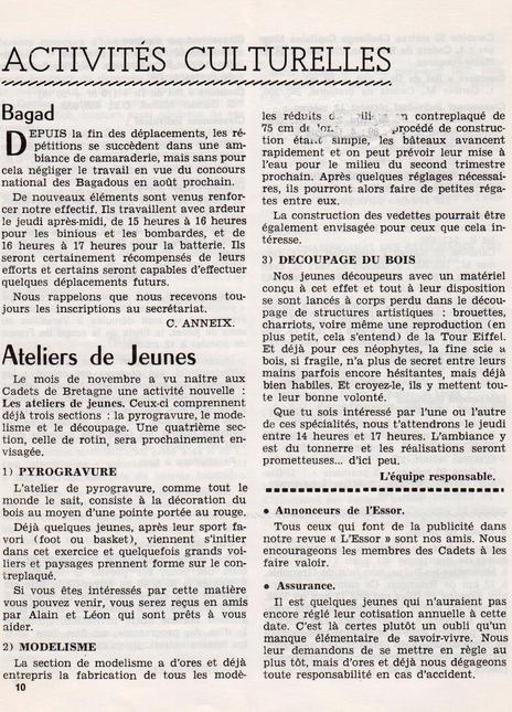 Activités culturelles Cadets de Bretagne 1964
