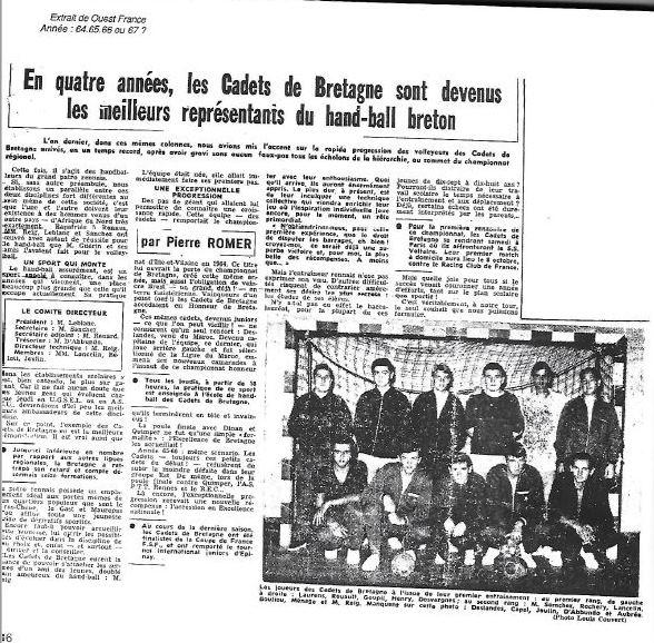 Retour en histoire de la section handball des Cadets de Bretatgne