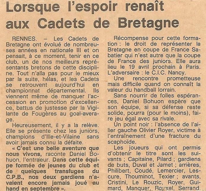 Handball Cadets de Bretagne Rennes 1980