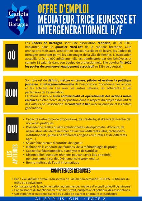 Offre d'emploi médiateur.trice jeunesse et intergénérationnel H/F